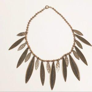 ANTHROPOLOGIE l Bronze Leaf Collar Necklace